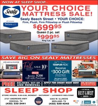 Your Choice Mattress Sale!