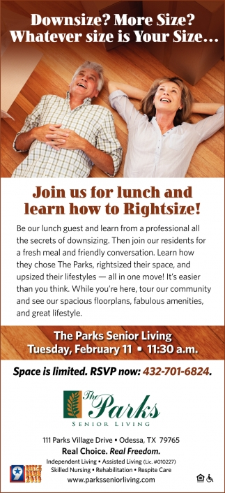Join Us For Lunch And Learn How To Righsize!