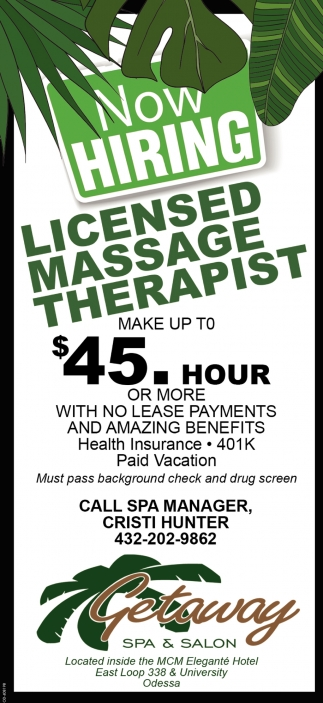 Now Hiring Licensed Massage Therapist