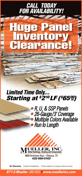 Huge Panel Inventory Clearance!