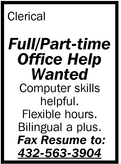 Full/Part-Time Office Help Wanted