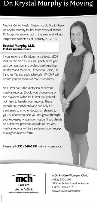 Dr Krystal Murphy Is Moving Mch Procare Odessa Tx