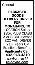 Packaged Goods Delivery Driver For Monnahans, TX