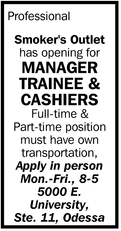 Manager Trainee And Cashiers