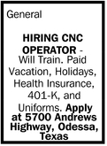 Hiring CNC Operator