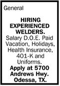 Hiring Experienced Welders