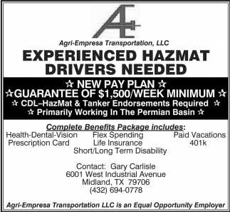 Experienced Hazmat Drivers Needed