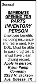 Parts Inventory Person
