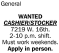 Wanted Cashier/Stocker