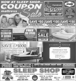 Now At Sleep Shop... Coupon Mattress Sale