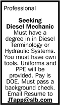 Seeking Diesel Mechanic