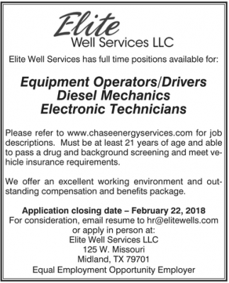 Equipment Operators/Drivers