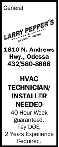 HVAC Technician/Installer Needed