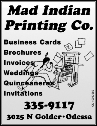 Cards, Mad Indian Printing Co, Odessa, TX
